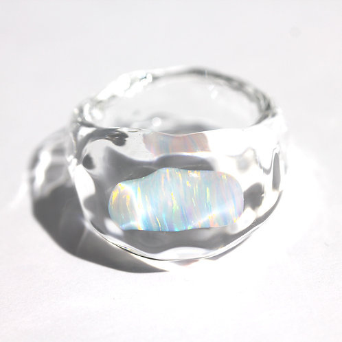 LUMIEF OPAL Rough Ring #15 White Opal 0.70ct [No.0002]