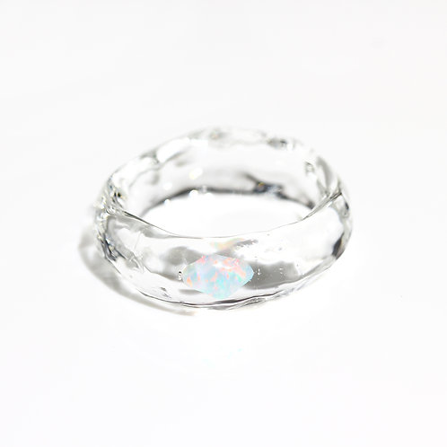 [No.0042] LUMIEF OPAL Straight Ring #19 White Opal