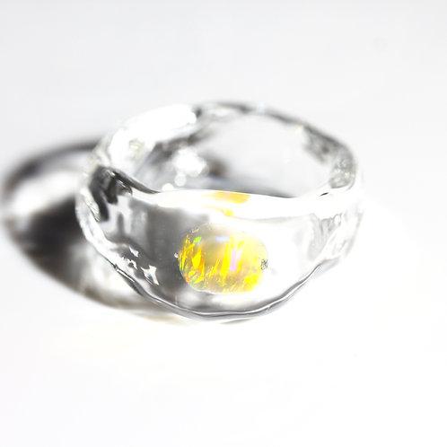 LUMIEF OPAL Rough Ring #9 Orange Opal 0.29ct [No.0034]