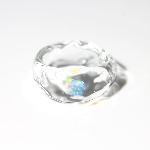 LUMIEF OPAL Rough Ring #8 Mint Opal 0.28ct [No.0036]