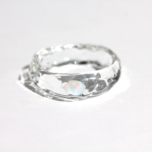 LUMIEF OPAL Straight Ring #20 White Opal [No.0025]