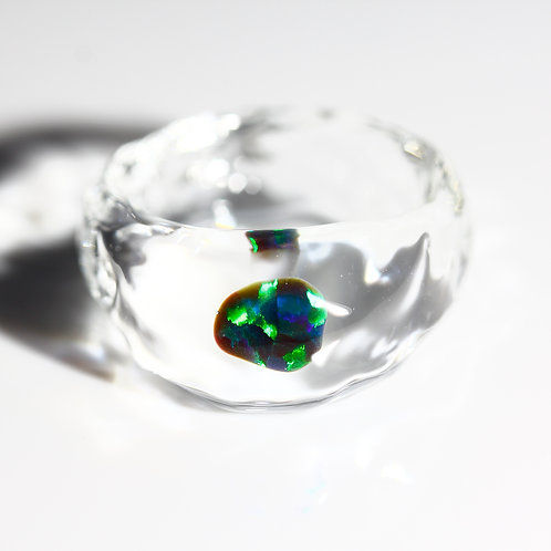 LUMIEF OPAL Rough Ring #16 Green Opal 0.41ct [No.0032]