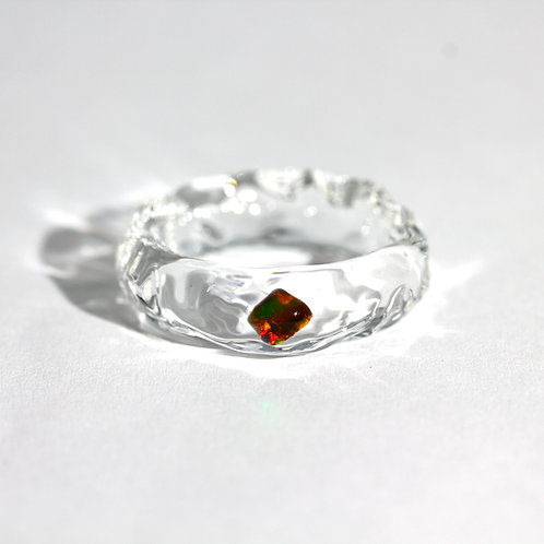 LUMIEF OPAL Straight Ring #21 Black Opal [No.0029]