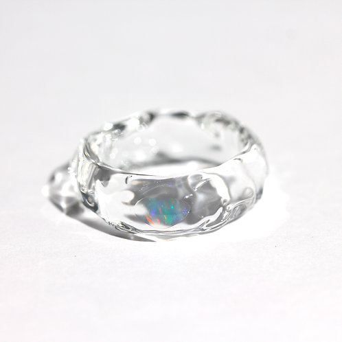 LUMIEF OPAL Straight Ring #8 Water Opal [No.0023]