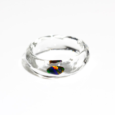 [No.0041] LUMIEF OPAL Straight Ring #18 Black Opal