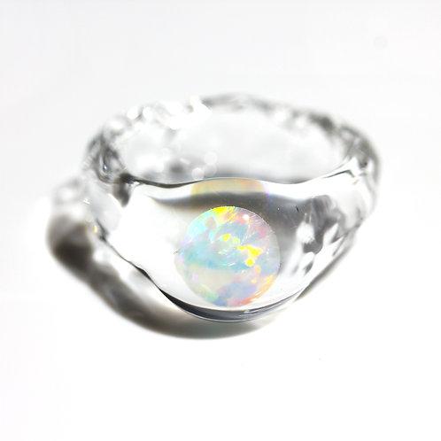 SENTE OPAL Ring #14 White Opal 0.50ct [No.0035]
