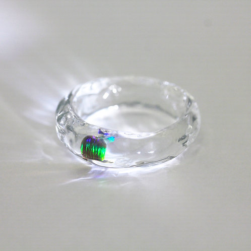 LUMIEF OPAL Straight Ring #14 Green Opal [No.0021]