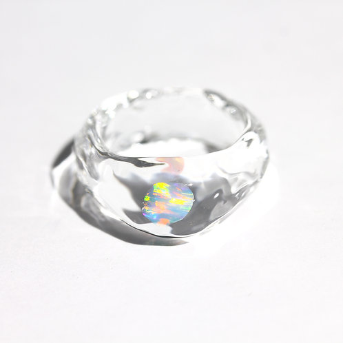 LUMIEF OPAL Rough Ring #13 White Opal 0.23ct [No.0014]