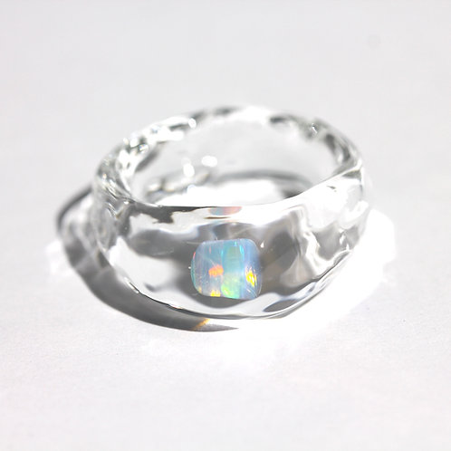 LUMIEF OPAL Rough Ring #17 White Opal 0.23ct [No.0007]