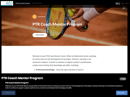 e.t.c support the Professional Tennis Registry's industry-leading Mentoring Program