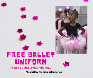 FREE Ballet Uniform when you register for a CICB Virtual Fall Ballet program.