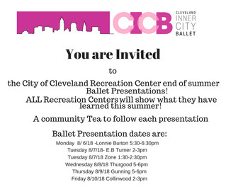 CICB at City of Cleveland- Recreation Centers end of summer presentations