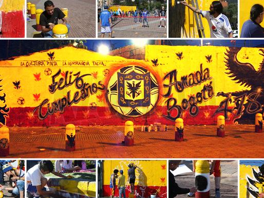 Con arte, hinchas de Millonarios festejaron el cumpleaños de la ciudad