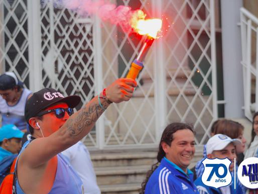 Los hinchas de Millonarios se tomaron las calles de Bogotá