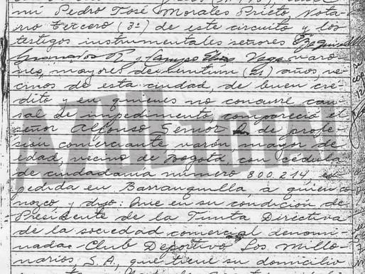 Escrituras de fundación de  Millonarios