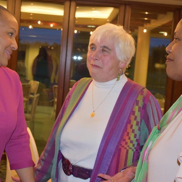 Cathy Lewis greets AKA honorees