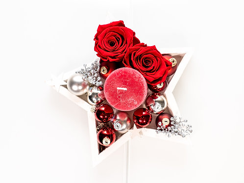 Weihnachtsstern mit Kerze & 2 Rosen
