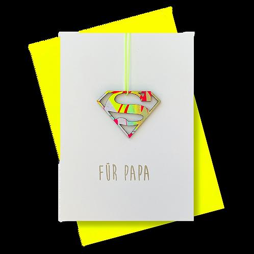 """Grußkarte """"Für Papa"""" mit Superman-Anhänger"""