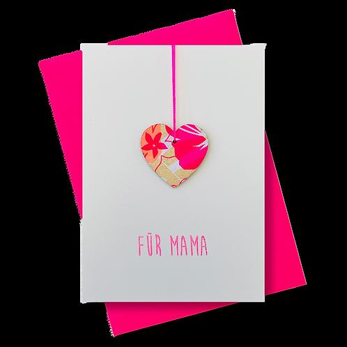 """Grußkarte """"Für Mama"""" mit Herz-Anhänger"""