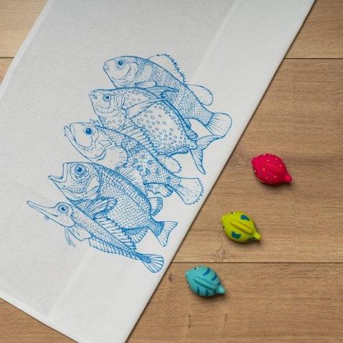 Geschirrtuch weiss mit 5 Fischen blau