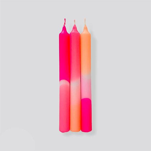 Dip Dye Neon Kerzen - Flamingo Dreams