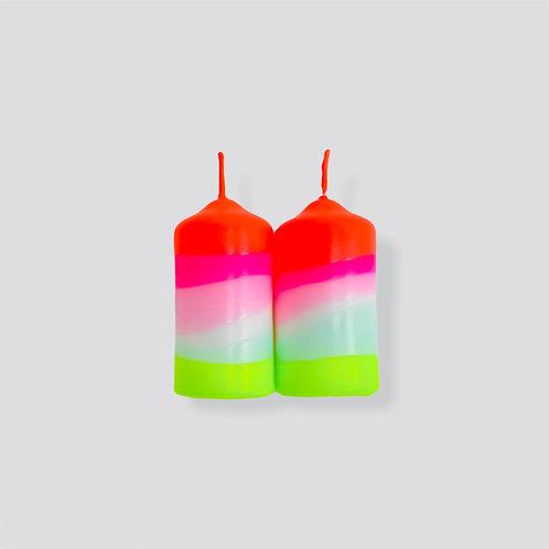 Dip Dye Neon Kerze - Lollipop Twins