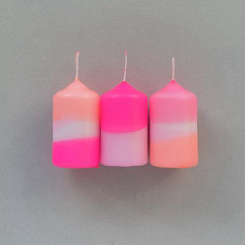 Dip Dye Neon Kerzen - Flamingo Cookies