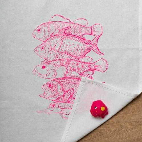 Geschirrtuch weiss mit 5 Fischen neon pink