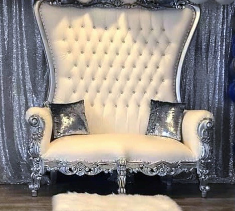 Silver/White Vintage Loveseat $300.00