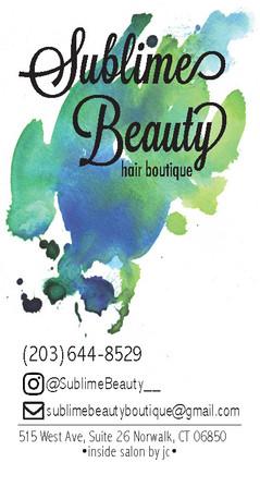 Sublime Beauty business card