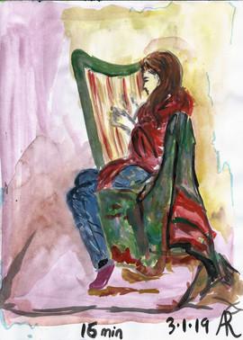 Woman Playing Harp Sketch