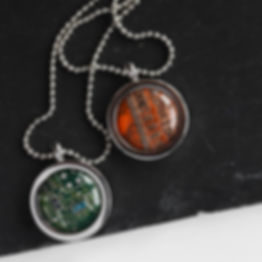 Circuit board necklace, 15mm round
