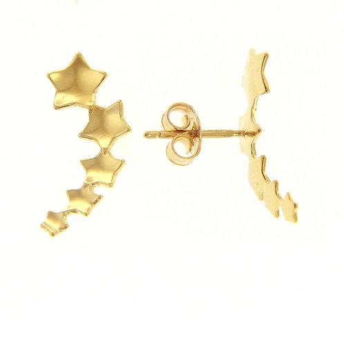Orecchini a lobo in oro giallo 18 kt di gr 1,4 a stelle