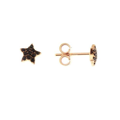 Orecchini stella lobo in oro rosa 18 kt e zirconi neri di gr 1,50
