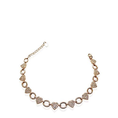 Bracciale in argento 925 rosato con cuori in zirconi bianchi