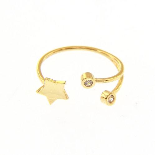 Anello stella e zirconi in oro 18 kt di gr 2,00 ca