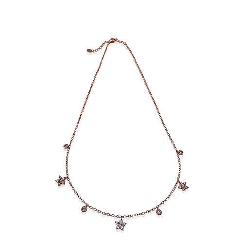 Girocollo in argento 925 rosato e con ciondoli fiori e tondi in zirconi