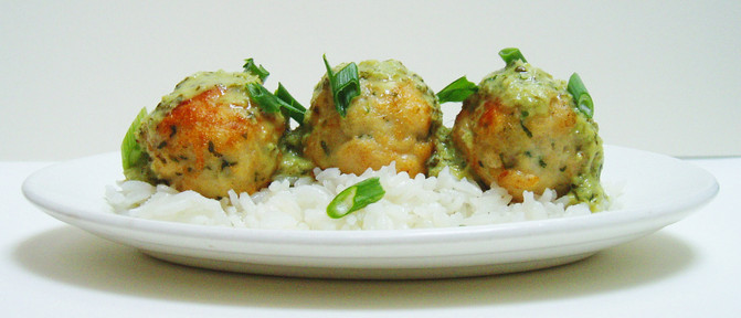 Thai chicken meatballs with green Thai curry sauce