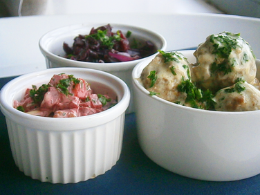 Swedish meatballs with beetroot salad & braised red cabbage