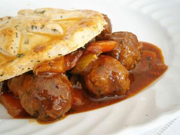 Beef, pork & chive meatballs braised in Guinness