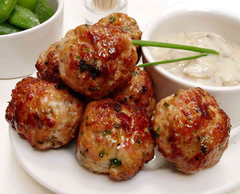 Pork & sage meatballs with mushroom cream sauce