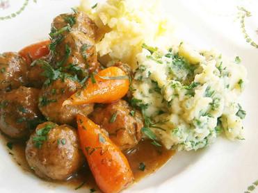Irish stew inspired lamb meatballs with colcannon & champ