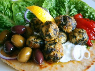 Greek inspired chicken, feta & spinach meatballs