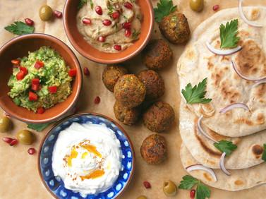 Broadbean & chickpea falafel with baba ganoush & labneh