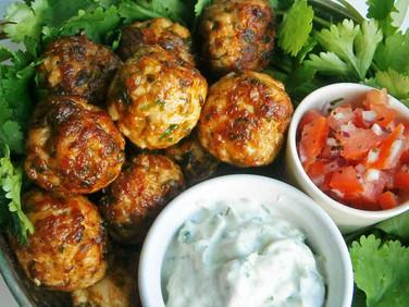 Chicken tikka style meatballs with raita & tomato + mint relish