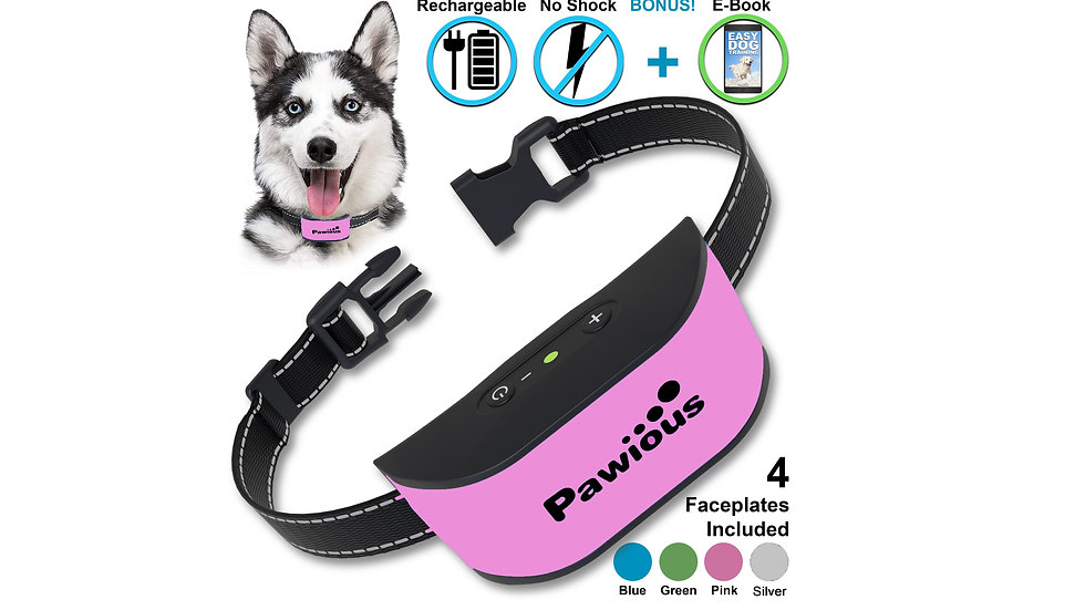 Pawious Bark Collar for Dogs - Humane No Shock, Rechargeable Anti Barking Collar