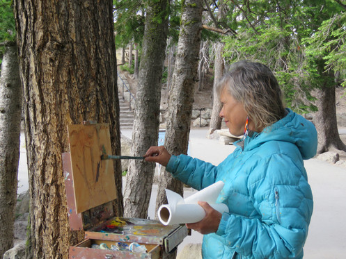 """Georgia onsite at Artist Point in Yellowstone National Park painting """"Artist Point"""""""