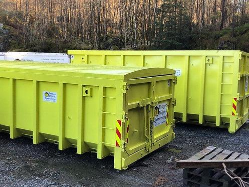 20 kubikk lukket krok-container til restavfall 2000 kg inkl. Fastpris kr 5950,-