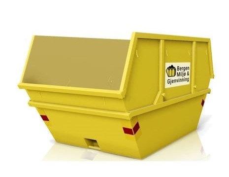 10 kubikk åpen container til takstein av betong, tegl, skifer. Fastpris kr 4350
