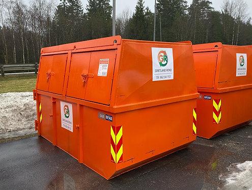 10 kub. lukket luke-container til blandet plast. Fastpris kr 3760,-